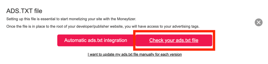 Intégration du fichier Ads.txt